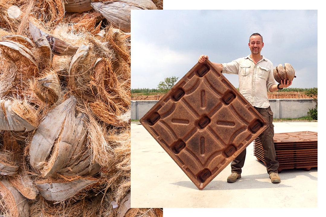 ไอเดียไม้ Pallet จากกาบมะพร้าว หรือ Cocopallets ถูกคิดค้นขึ้นโดย Michiel Vos ที่มองว่ากาบมะพร้าวเป็นขยะที่เกษตรกรมักจะเผาทิ้ง เพราะเป็นส่วนที่ใช้ประโยชน์ได้น้อยที่สุด