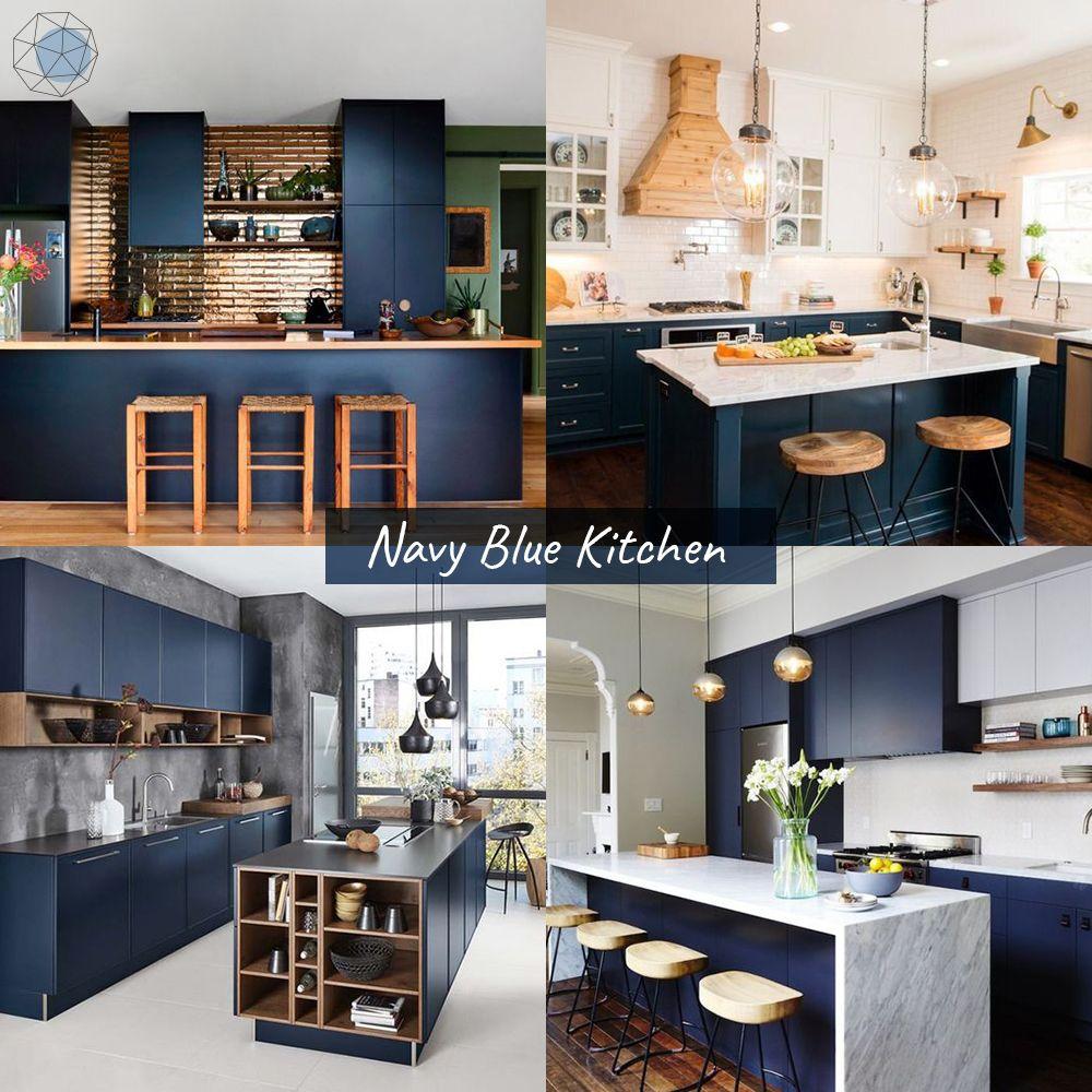 """ออกแบบห้องครัว """"โทนน้ำเงินเข้ม"""" (Navy Blue Kitchen)"""