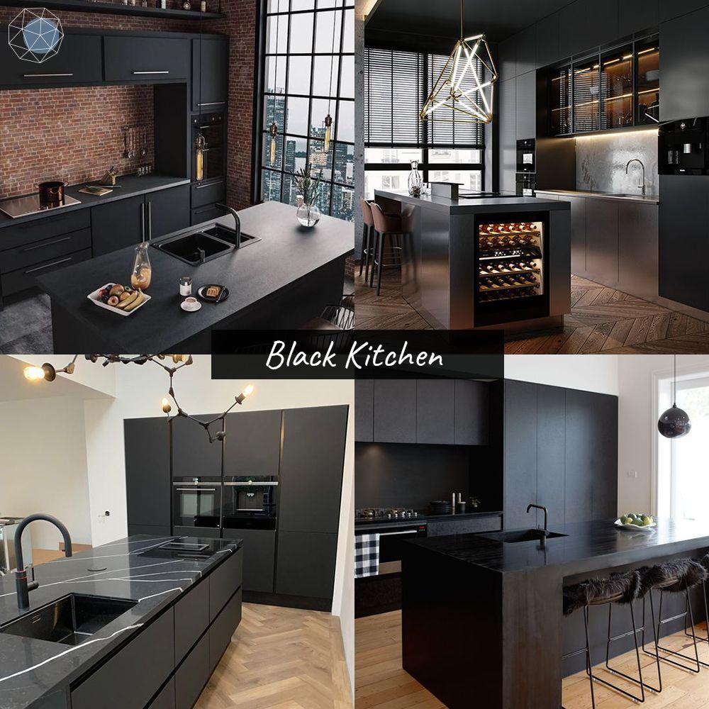 """ออกแบบห้องครัว """"โทนดำ"""" (Black Kitchen)"""