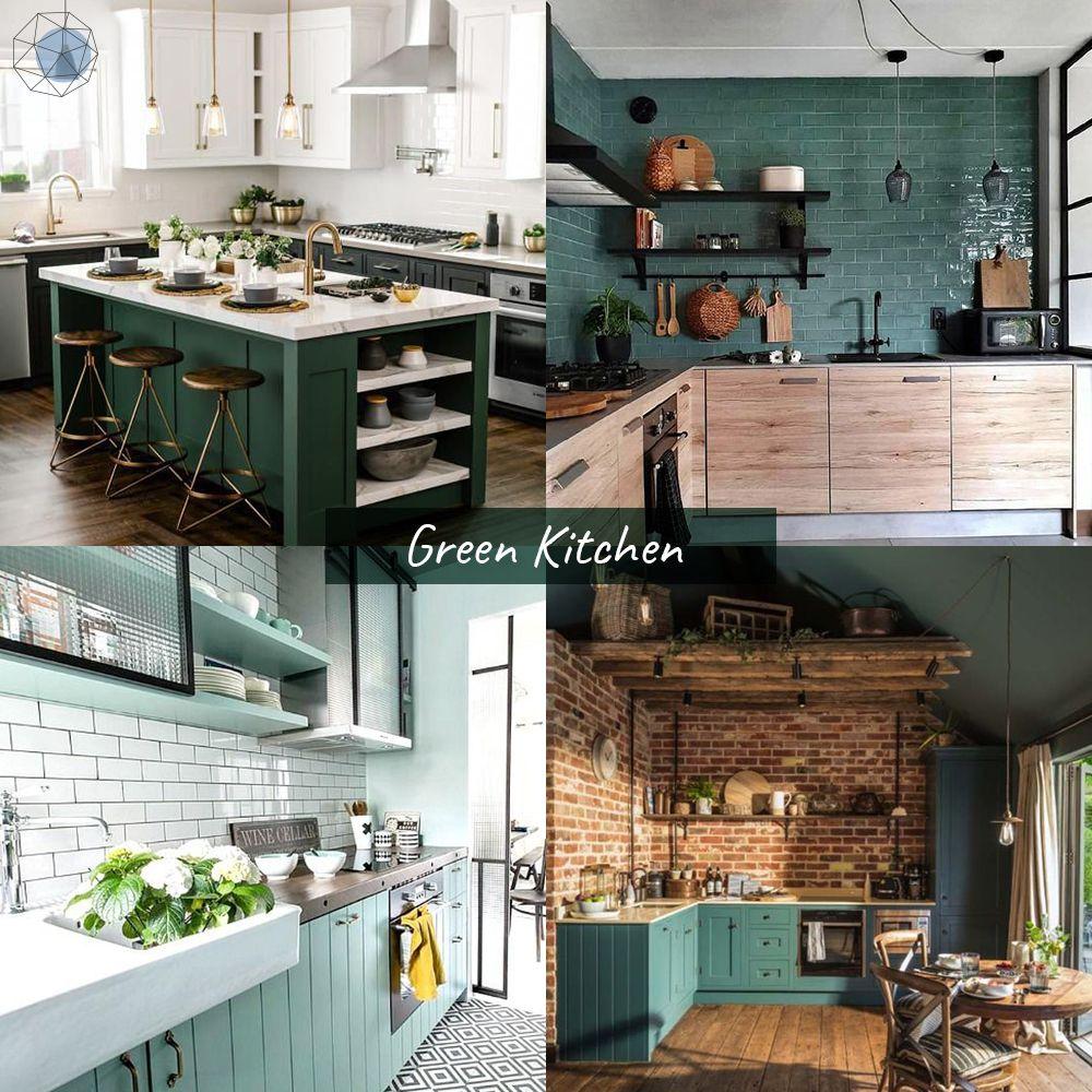 """ออกแบบห้องครัว """"โทนเขียว"""" (Green Kitchen) """