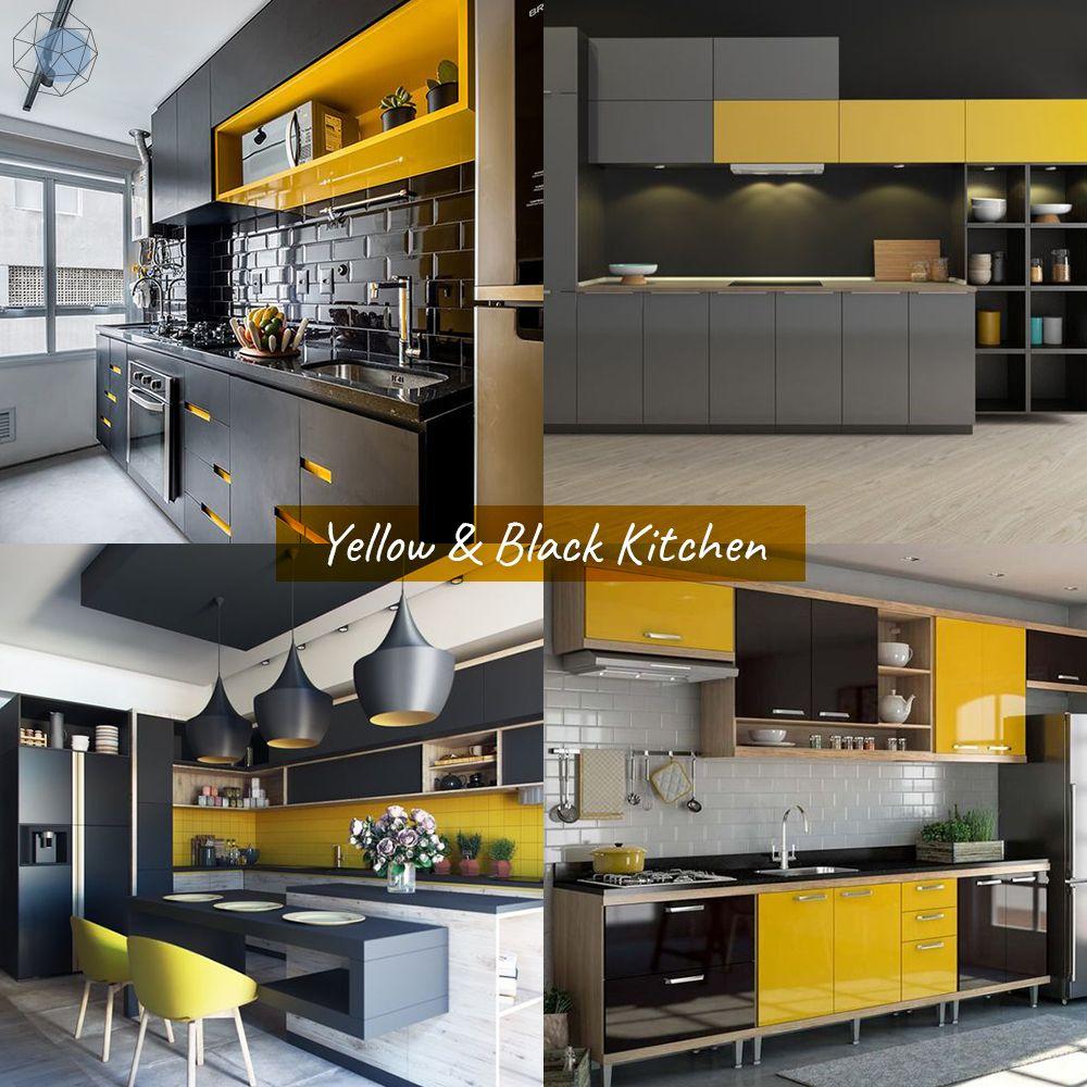 """ออกแบบห้องครัว """"โทนเหลือง – ดำ"""" (Yellow & Black Kitchen)"""