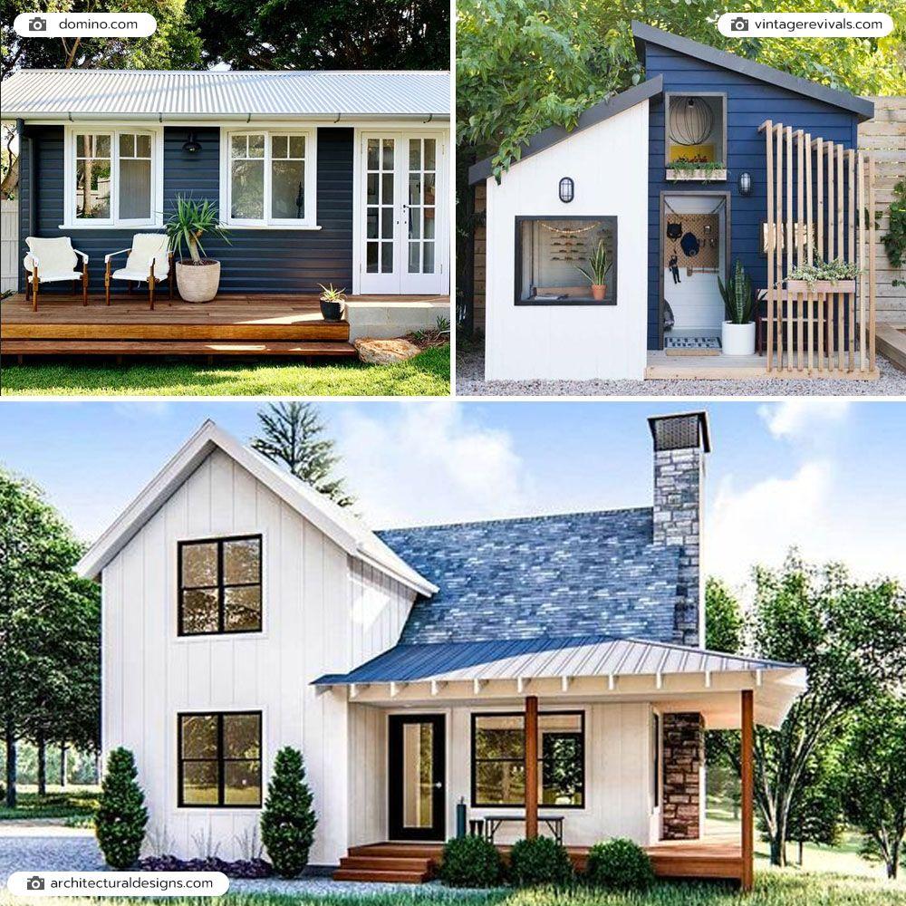 บ้านหลังเล็กสีขาว น้ำเงิน